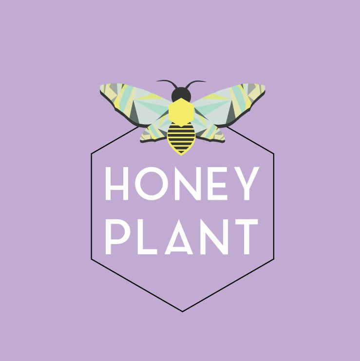 "hexagon-shaped logo with an image of a bee and the text ""Honey Plant"""