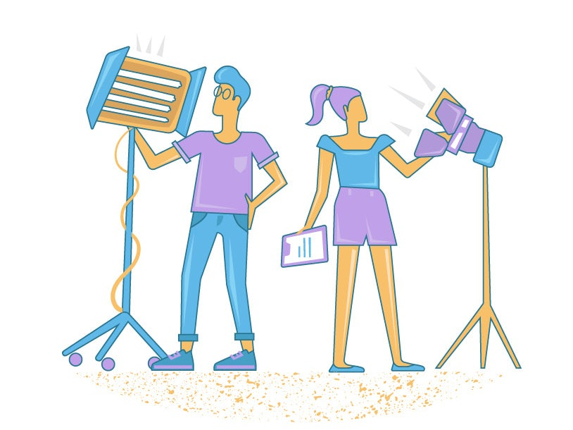 An illustration of a crew setting up lights for film