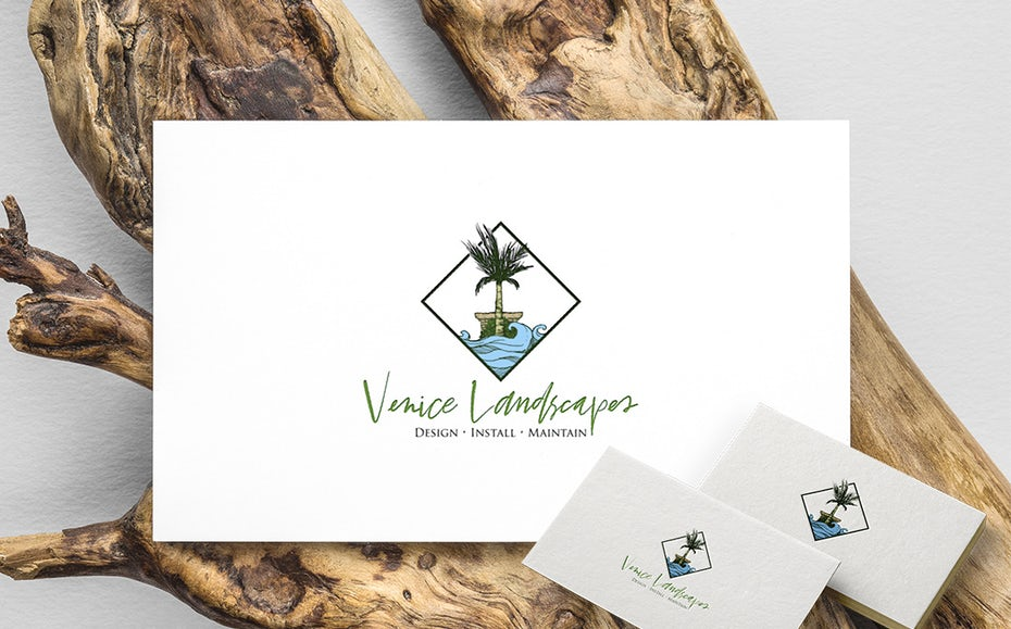 "diamond-shaped logo showing a palm tree and water with the text ""Venice Landscapes"""