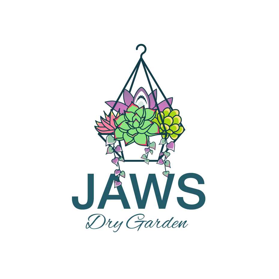 "hanging basket filled with succulents and the text ""Jaws Dry Garden"""