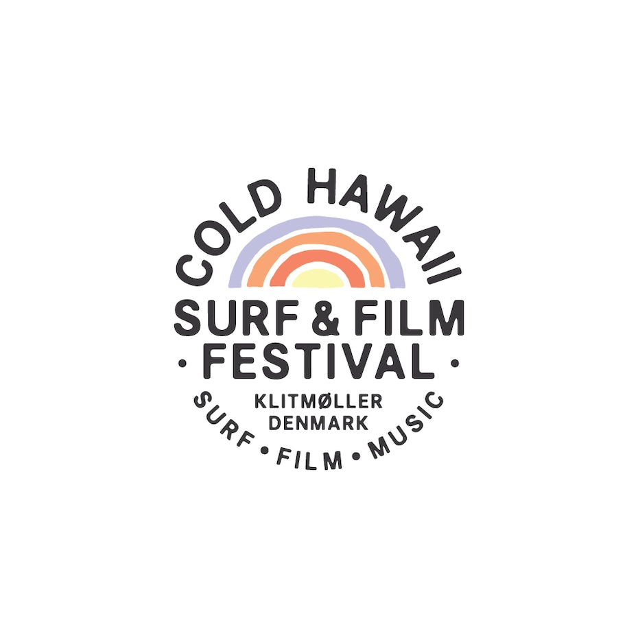 Rainbow logo design for a surf festival