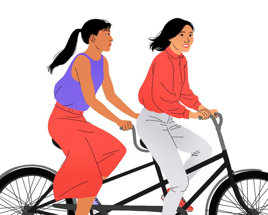 illustration zweier frauen auf einem tandem