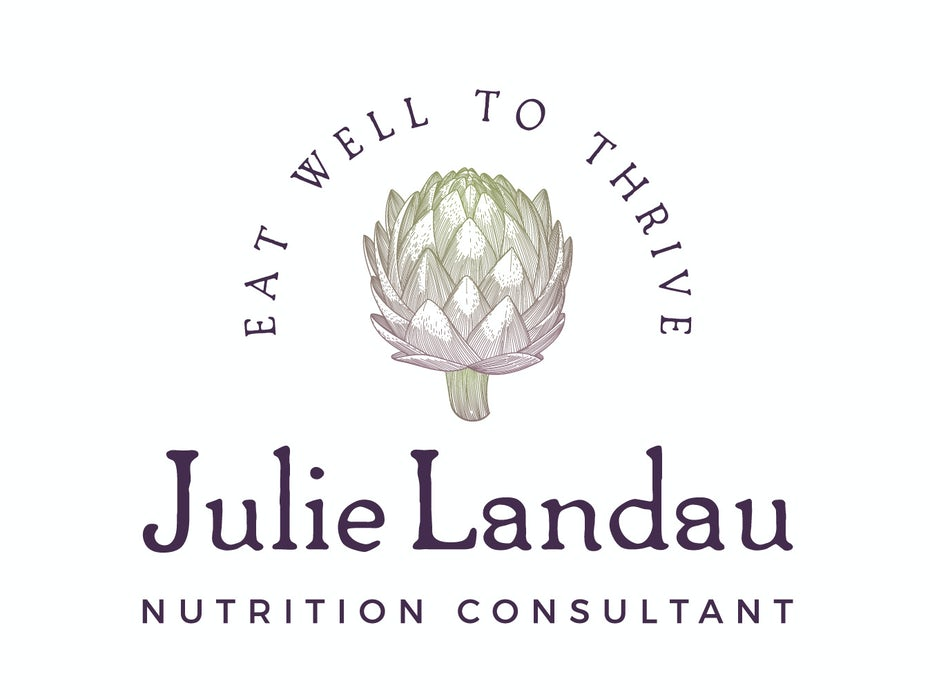 "line drawing of an artichoke with the name ""Julie Landau"""