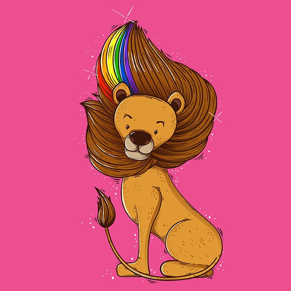 Lion illustration with a rainbow in its mane