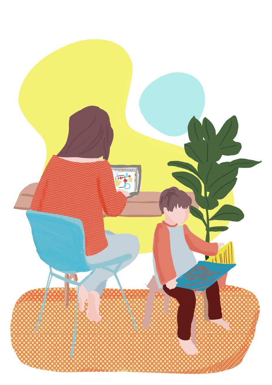 Mother working and son playing illustration