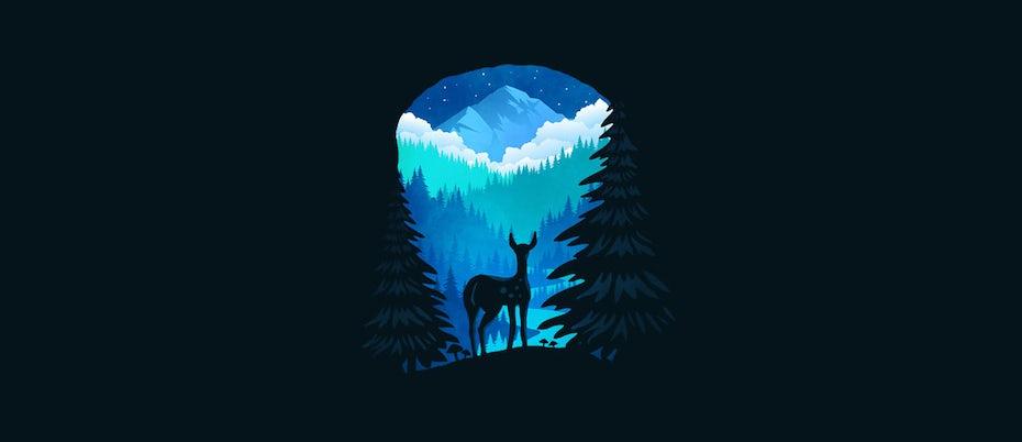 лес с логотипом оленя