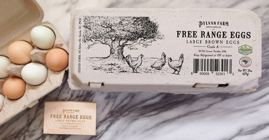 Sylvan Farm egg carton label