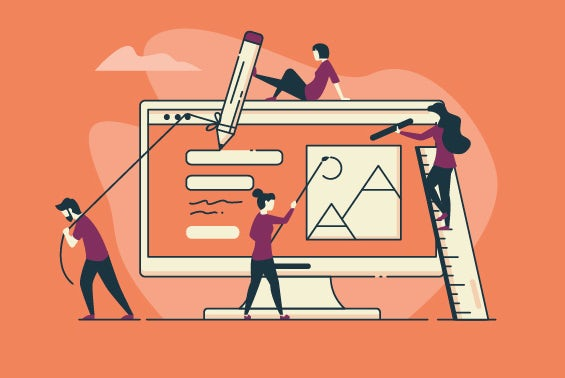top of three illustrations people manually working on screen