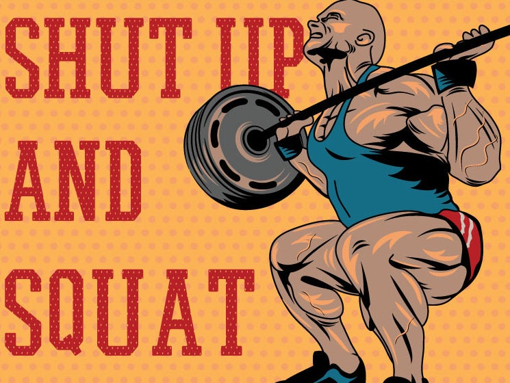 An orange illustrated motivational gym poster