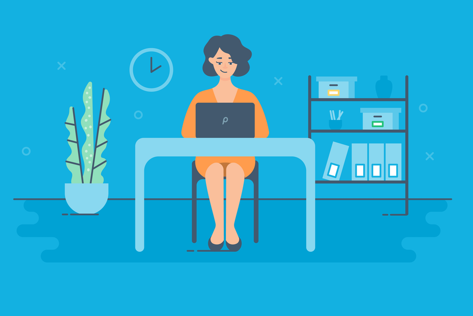 woman at desk blue background