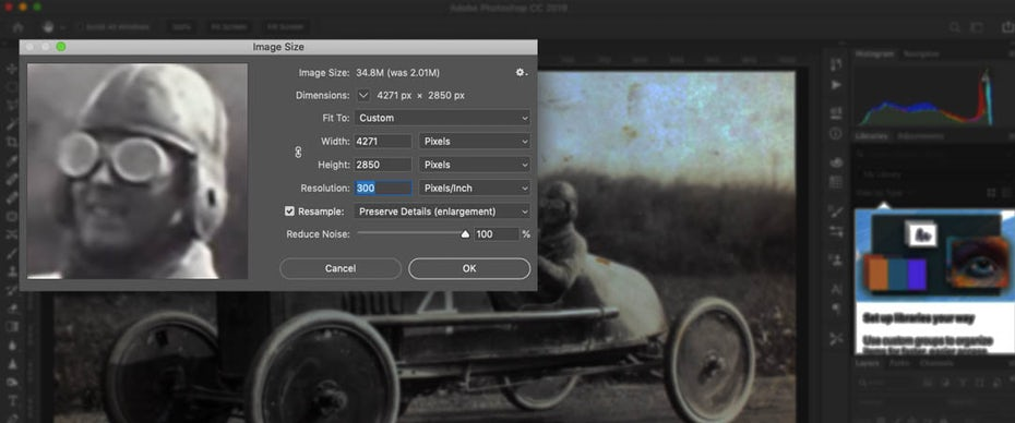 Screenshot of the Image Size window in Photoshop for changing the PPI resolution