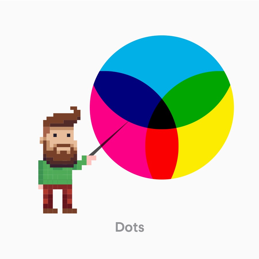 An image demonstrating the CMYK in printer dots