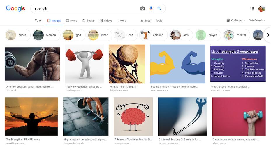 """Mặc dù bạn phải chọn lọc các câu trích dẫn truyền cảm hứng (hoặc không truyền cảm hứng), tìm kiếm nhanh trên Google về một điều gì đó chung chung như """"sức mạnh"""", vẫn đưa ra các ý tưởng logo mới: đại bàng, nắm đấm, thể dục, leo núi, thậm chí là thuyền buồm có thể là hạt giống nảy sinh cảm hứng logo."""