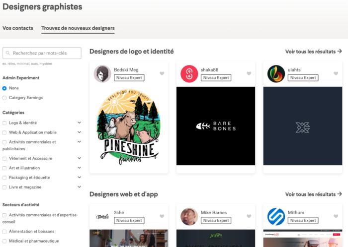 L'outil de recherche de designers sur 99designs