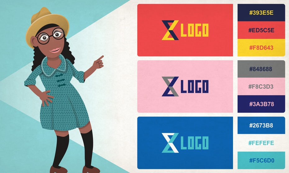 illustration of woman pointing towards different logo color combinations