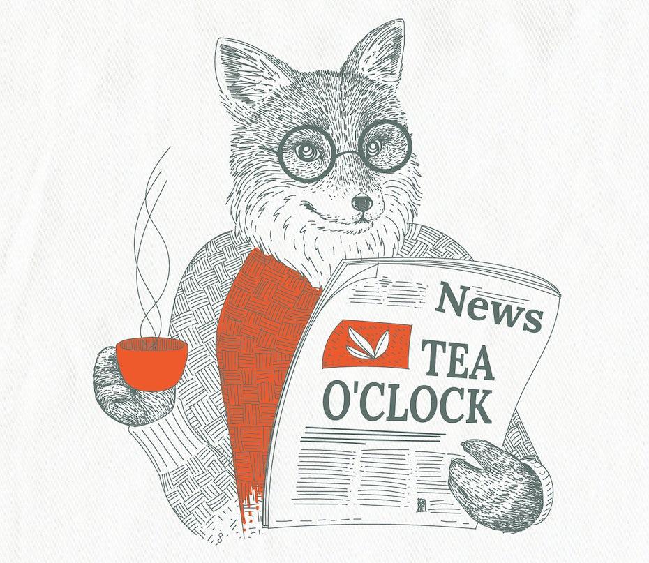fox drinking tea reading paper illustration
