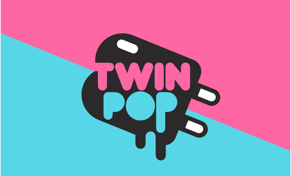 pink and blue popsicle logo
