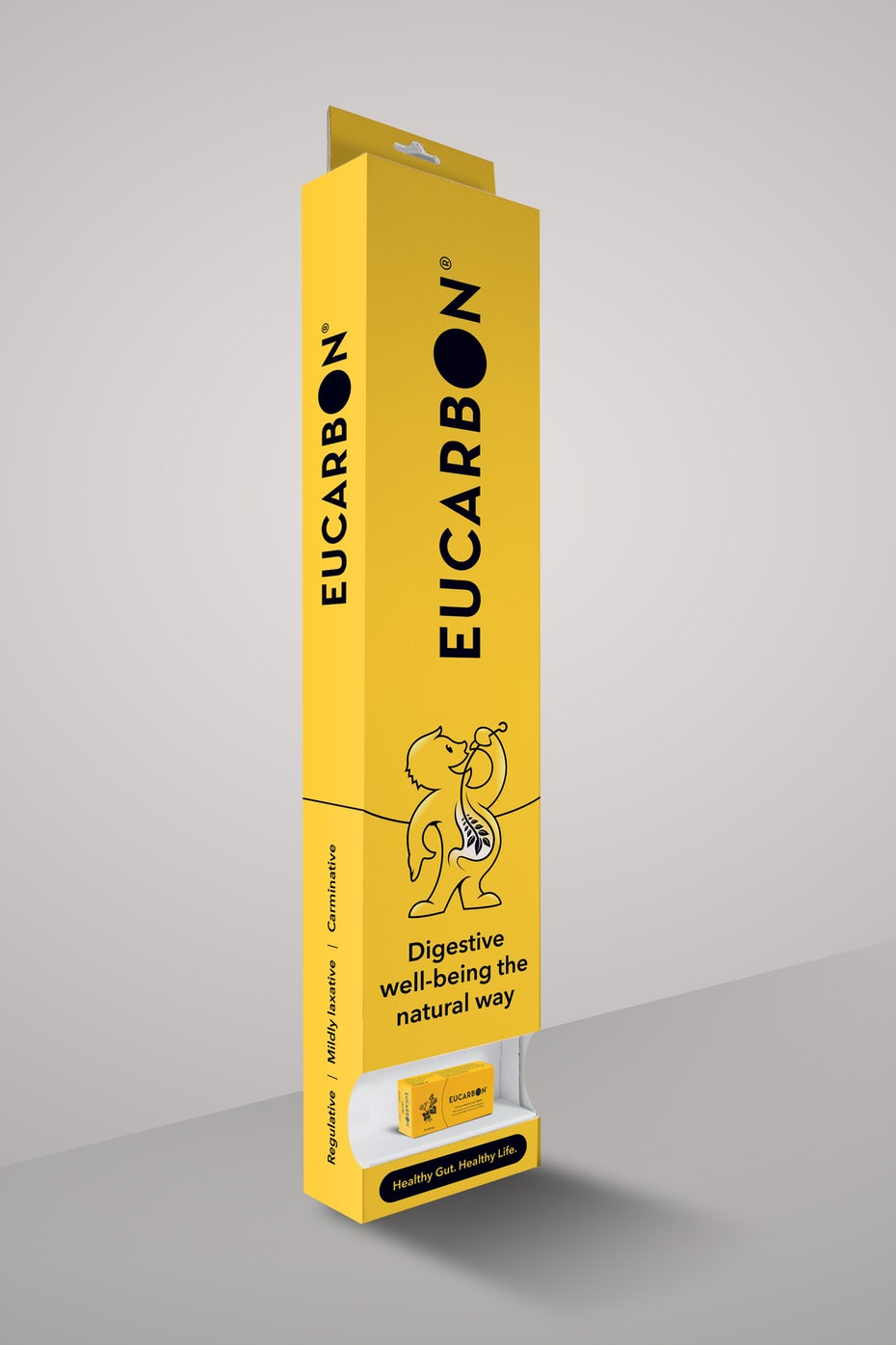 A bright, yellow medical packaging