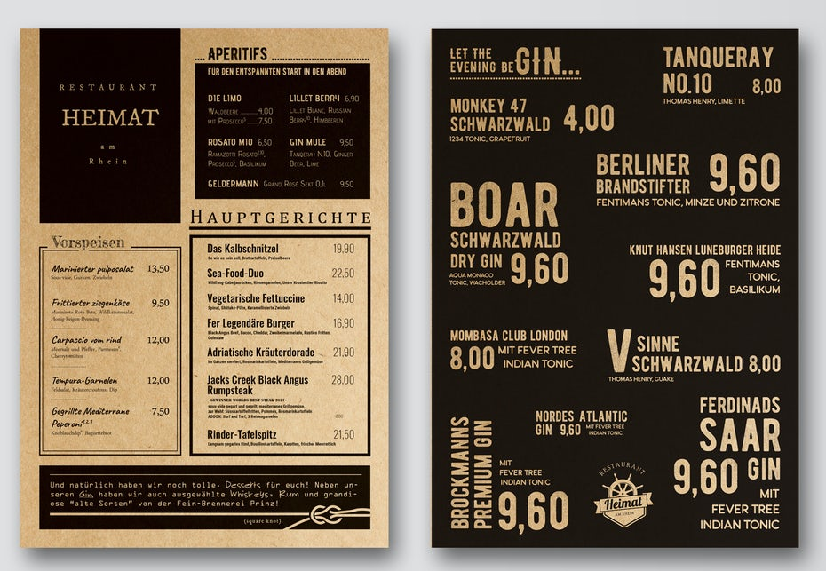 A black and white menu design with large typography