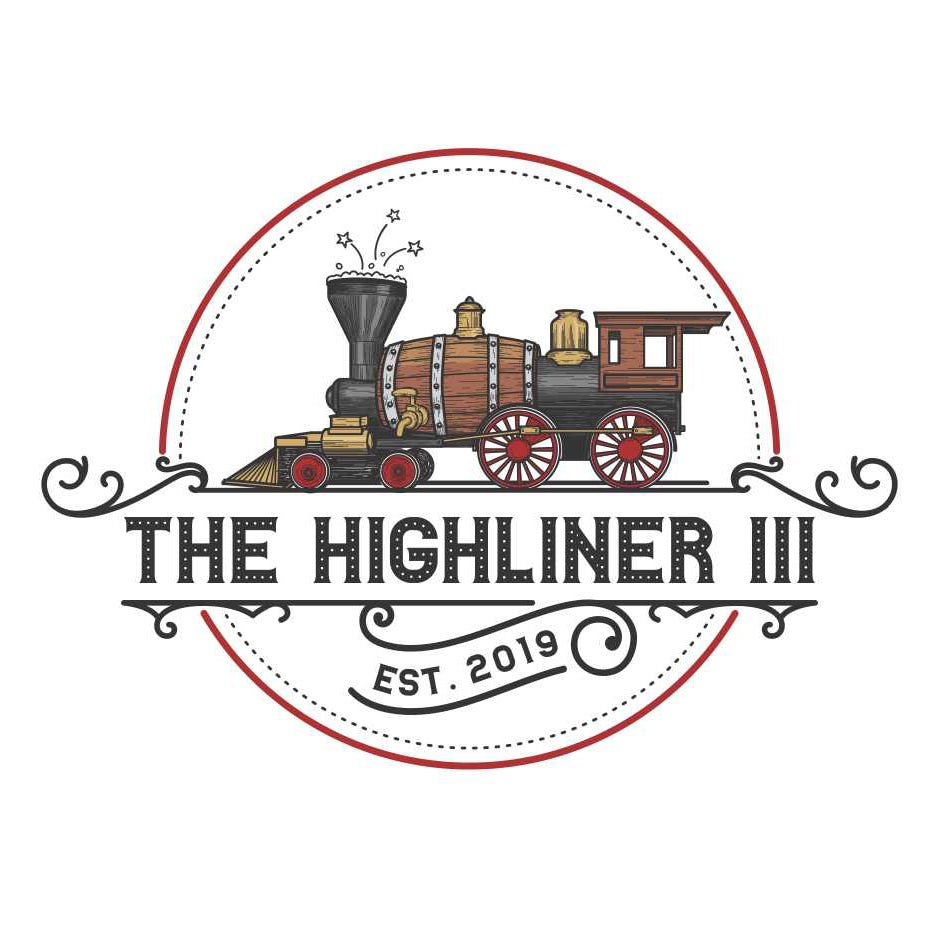 round logo showing an old-fashioned train with a barrel for its engin