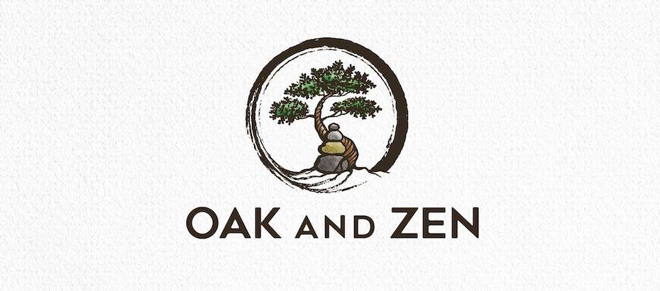 логотип бонсай с камнями