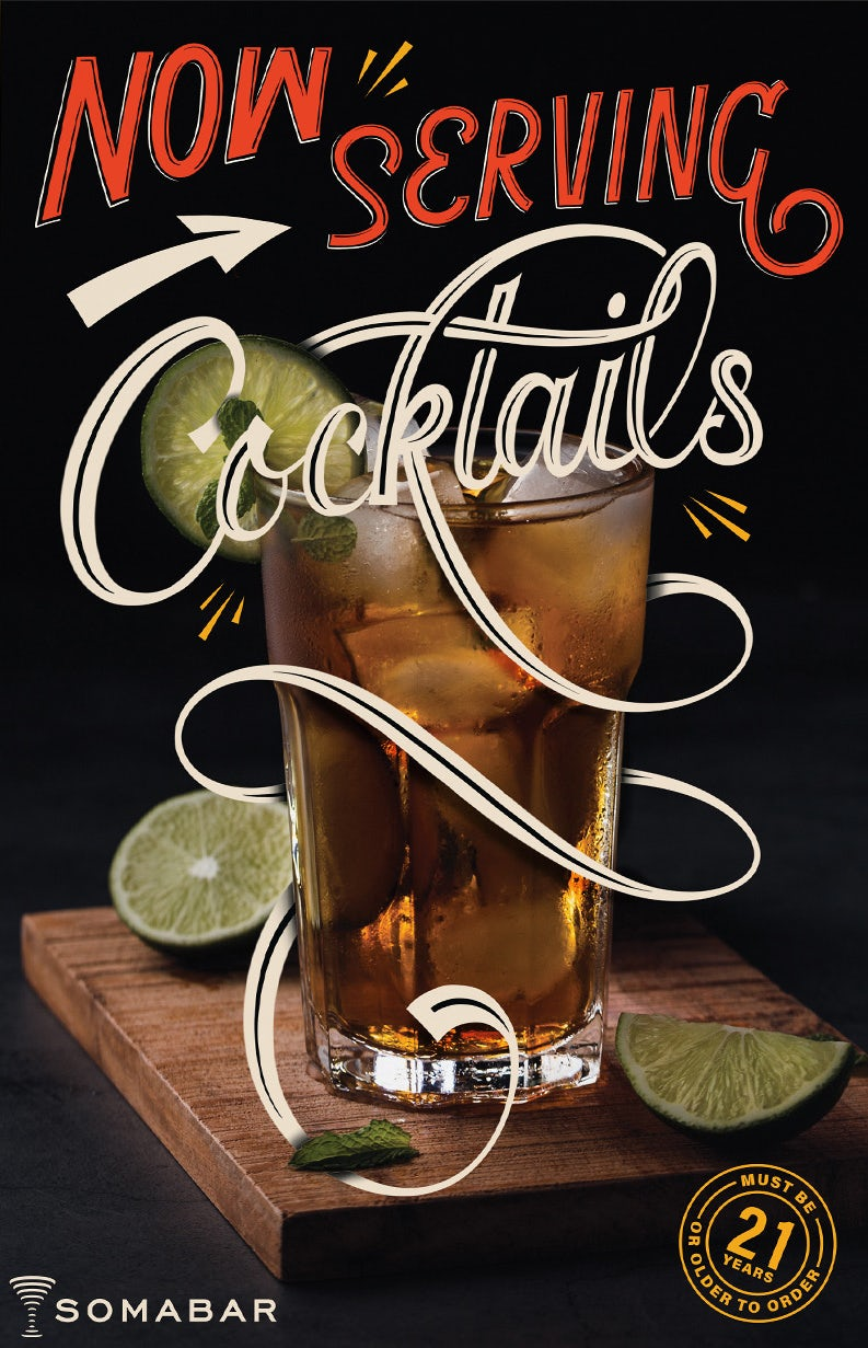 poster of a refreshing cocktail surrounded by cut limes