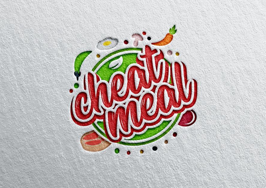 круговой логотип с различными продуктами, окружающими слова «читерская еда»