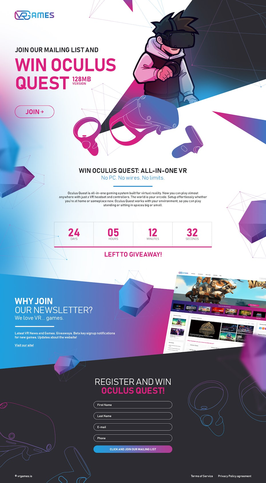 landing page showing vectors, neon blue and pink and a character wearing a VR headset