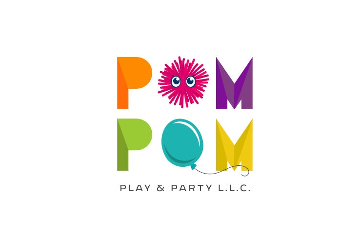 colorful rainbow logo with pom poms and balloons