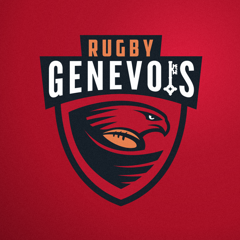 shield-shaped logo showing a falcon with a rugby ball in its wing