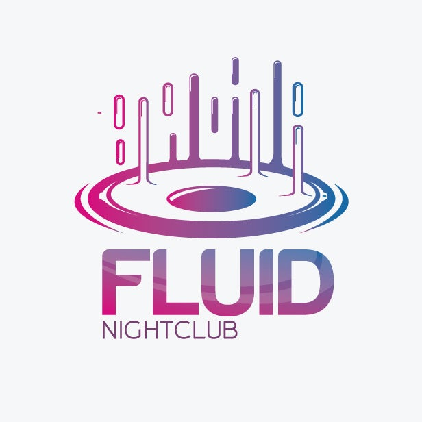 pink and blue nightclub logo with fluids rising from speaker