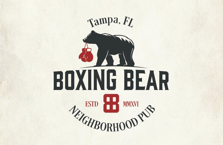 pub logo with illustration of a bear with boxing gloves in its mouth