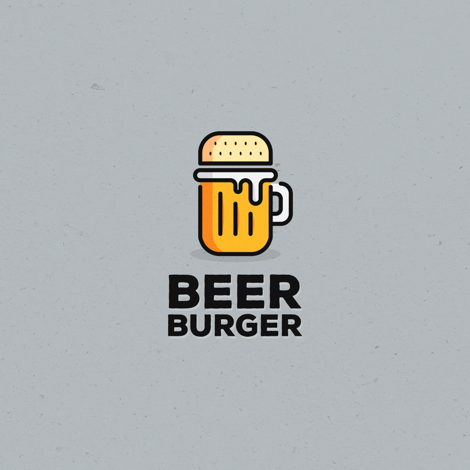 semi-flat image of a beer mug topped by a burger bun