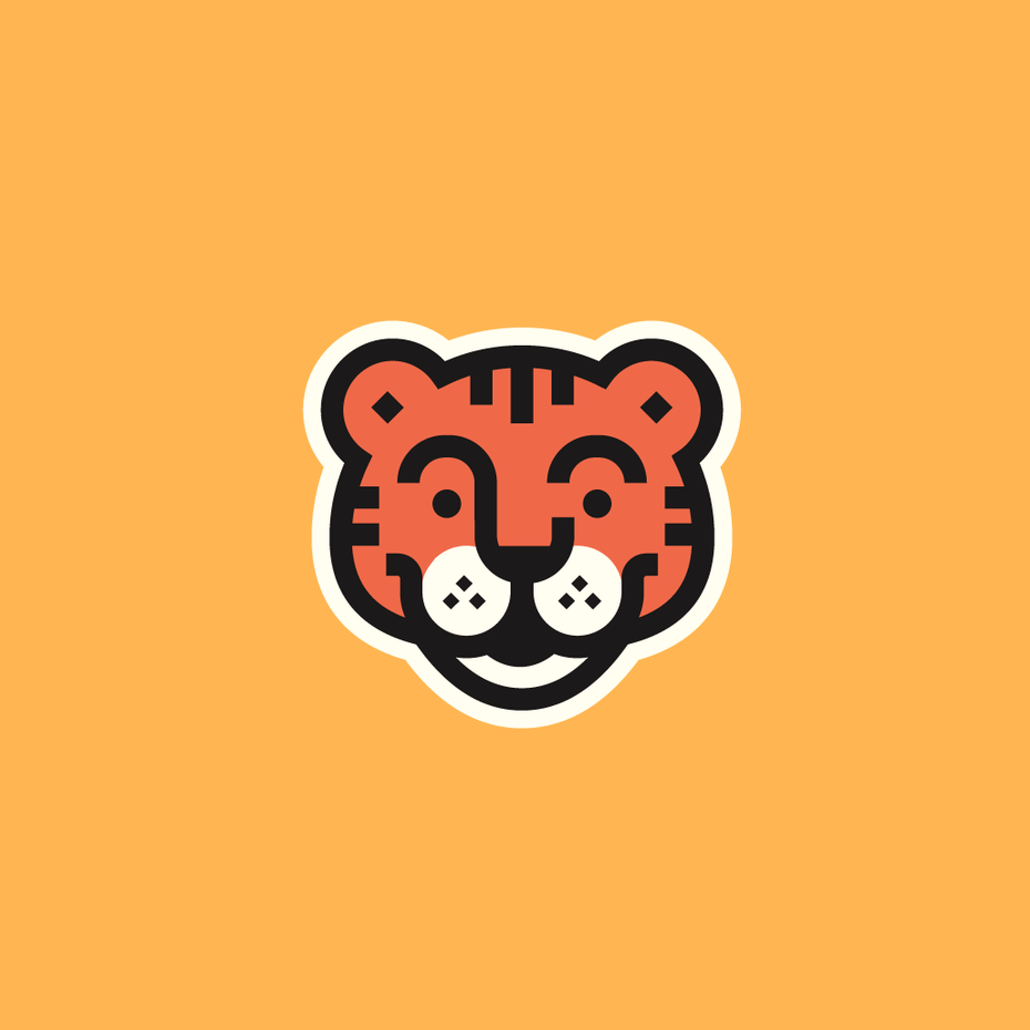 soft, cartoon tiger face outlined in white