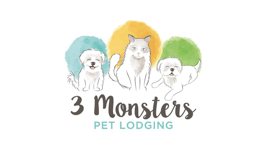 акварельное изображение двух собак и одного кота, сидящего в ряд, каждый из которых акцентирован акварельным кругом