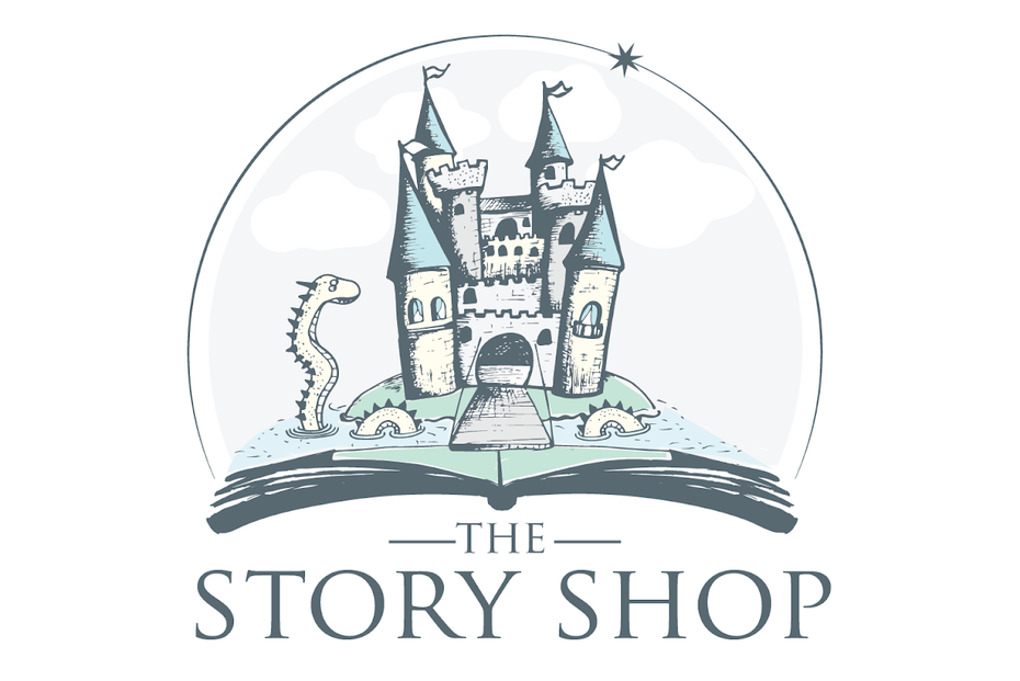 The Story Shop logo kombiniert Wortmarke und Bildmarke