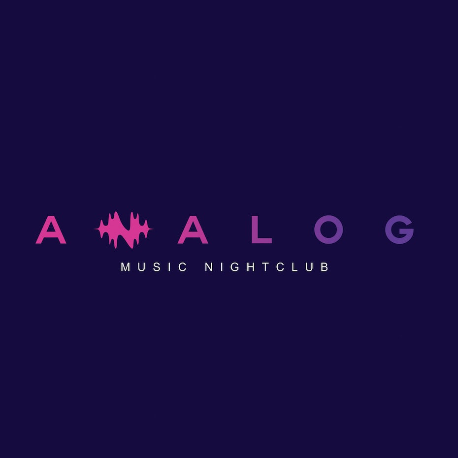 pink and purple modern minimalistic nightclub logo with sound wave in shape of an N