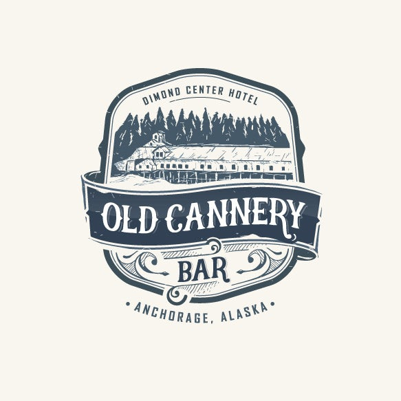 badge-style logo showing a cannery and tree