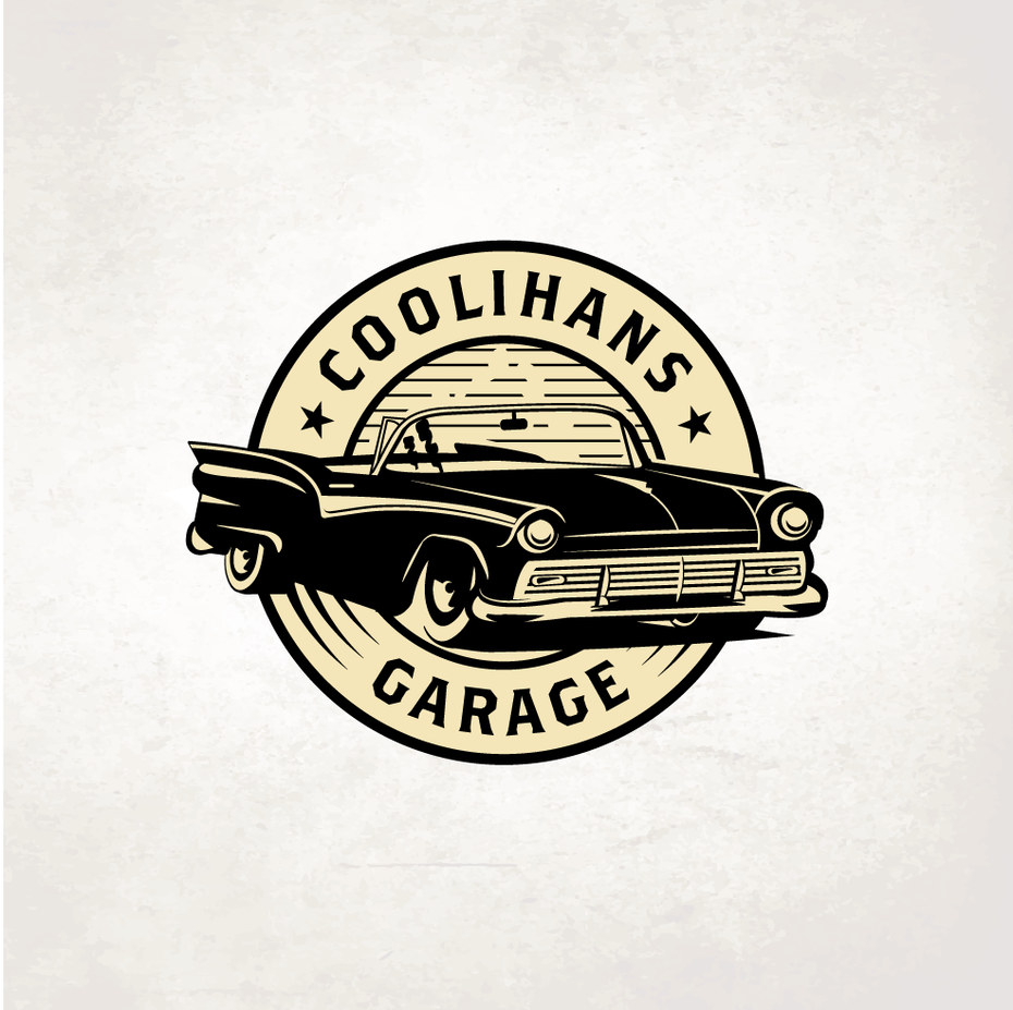 round vintage-style logo showing a retro car