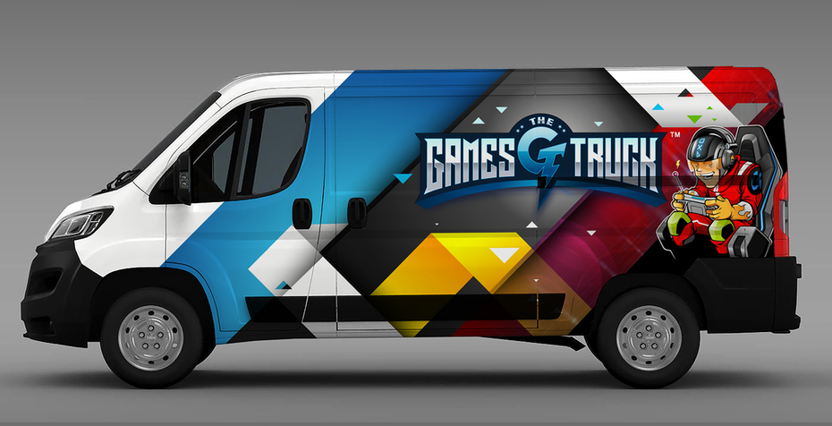 multi-colored vehicle wrap for a video game company truck