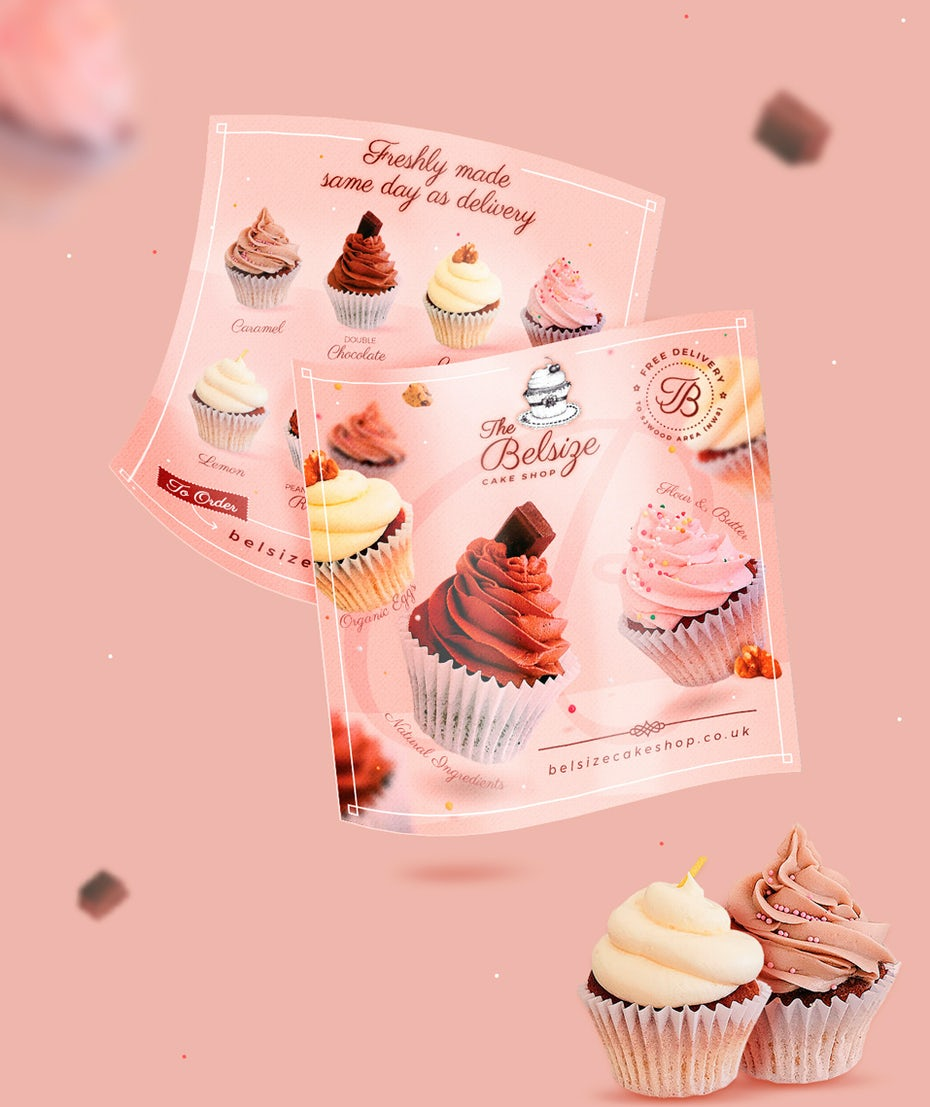 Cake shop two sided flyer in pink