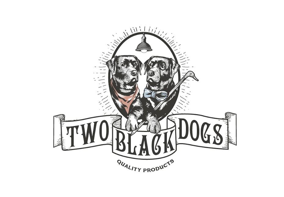 винтажный логотип с изображением двух черных лабрадоров