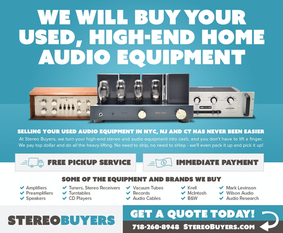 Blue flyer design for stereo audio equipment