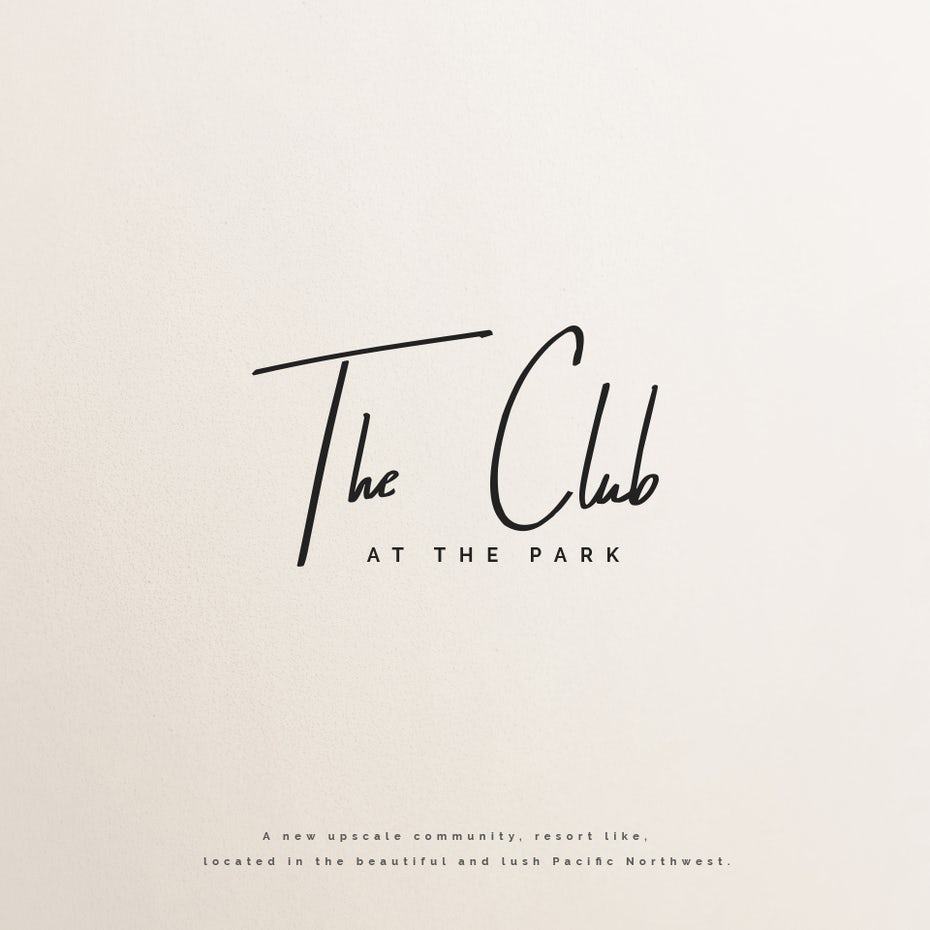elegant and minimalistic club logo consisting of a handlettered wordmark