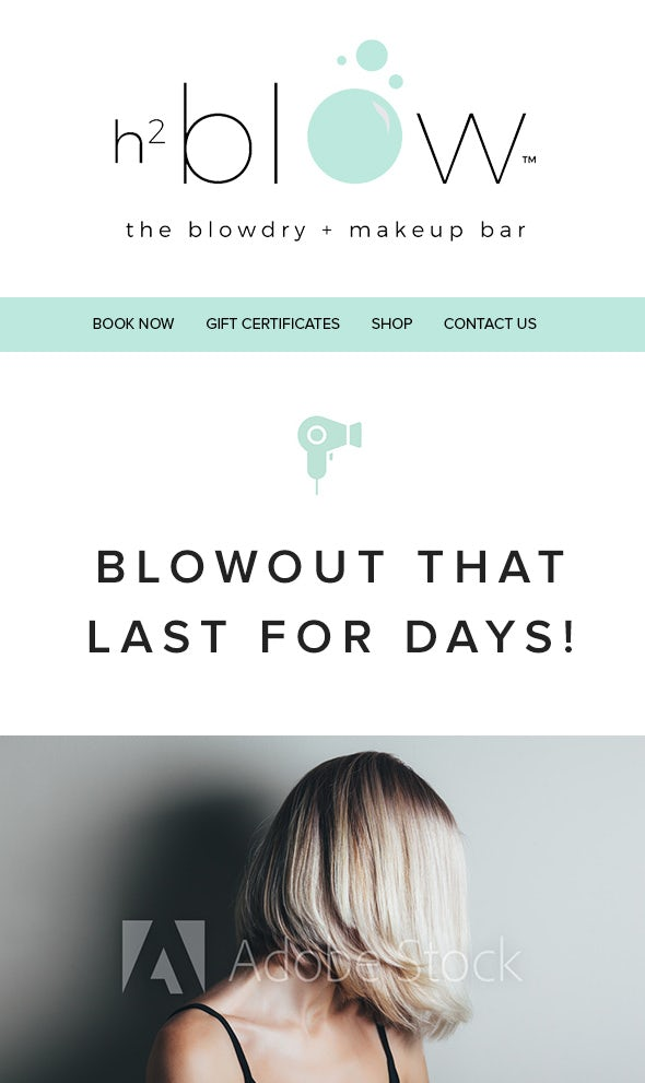 email design with mint accents and photographs of clients' hairstyles