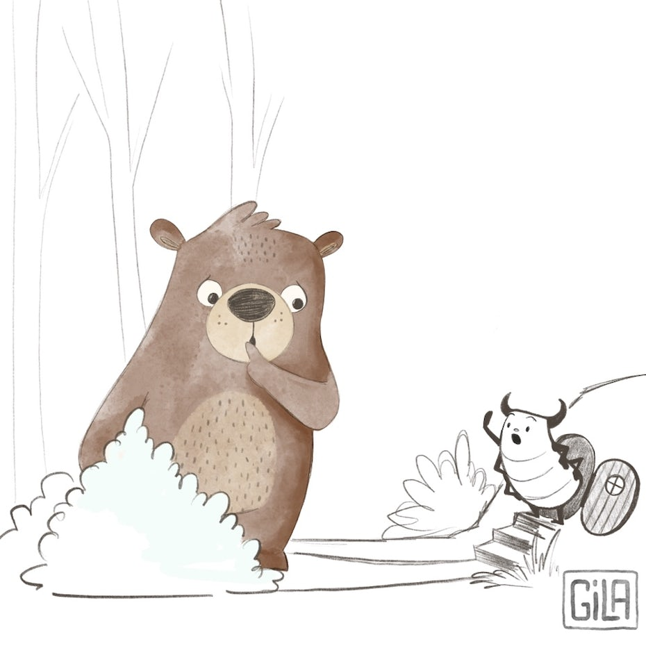 bear talking to bug illustration