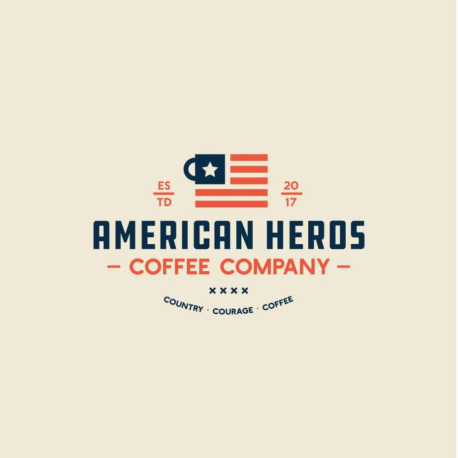 square coffee mug logo bearing an american flag-inspired design