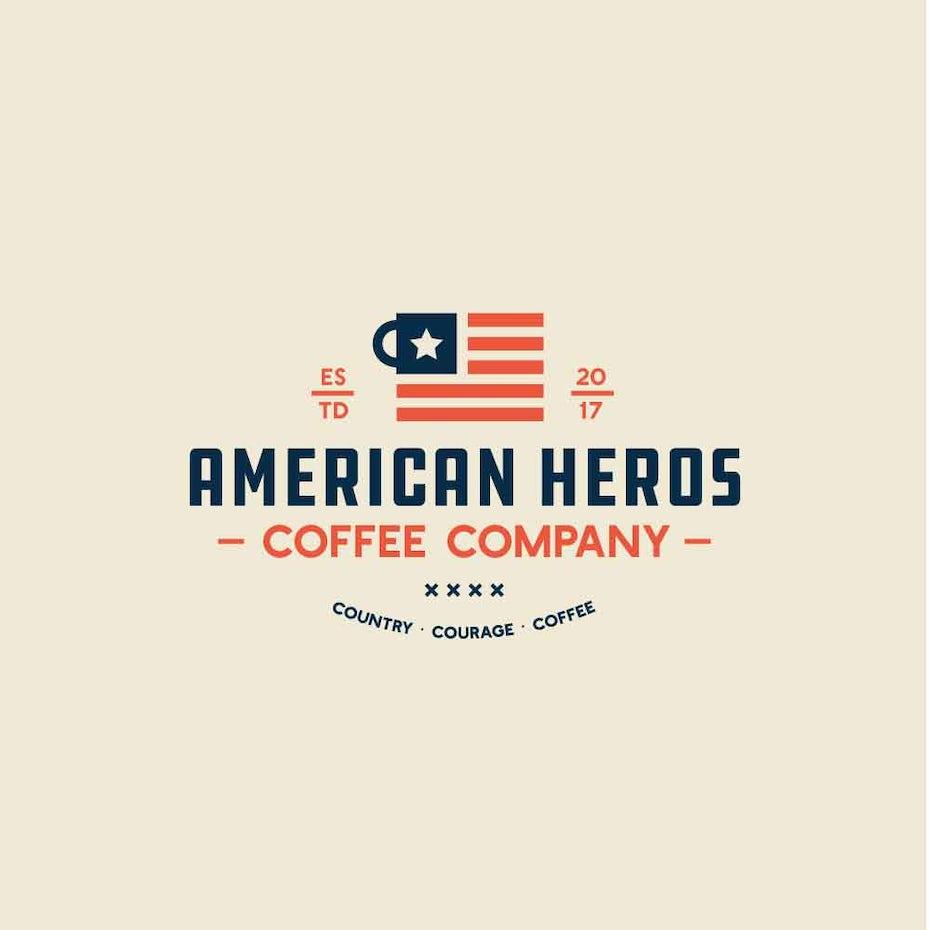 квадратная кружка с логотипом в стиле американского флага