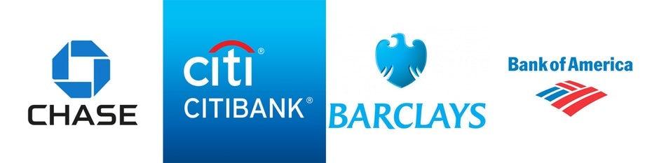 Blue bank logos