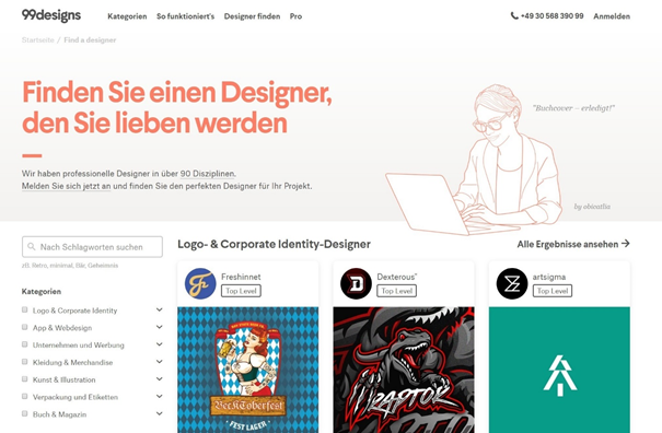 Individuelle Designersuche bei 99designs